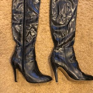 Shoes - SNAKESKIN leather OVER THE KNEE heeled boots